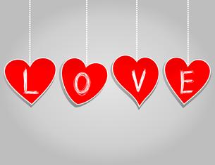 Love. Inscription love on red hearts. A vector illustrationのイラスト素材 [FYI03088931]