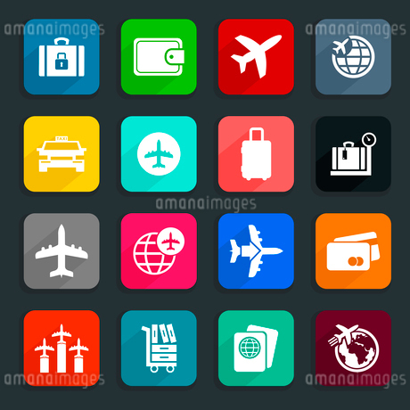 Collection of icons on a theme aircraft. A vector illustrationのイラスト素材 [FYI03088945]
