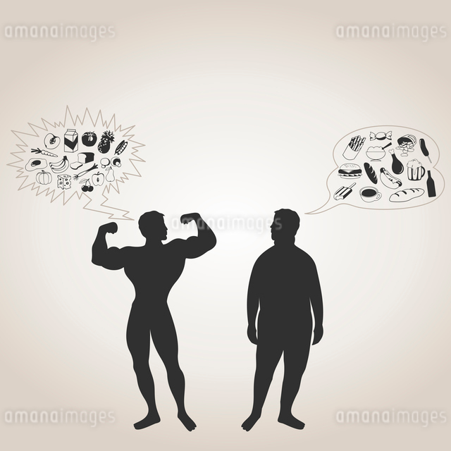 The sportsman and the fat man. A vector illustrationのイラスト素材 [FYI03088947]