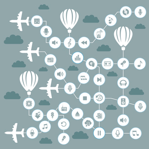 Abstract music in the sky. A vector illustrationのイラスト素材 [FYI03088973]