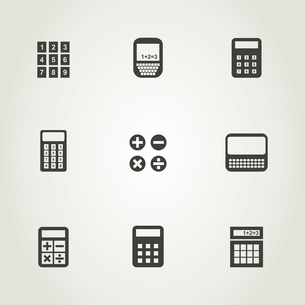 Set of icons the calculator. A vector illustrationのイラスト素材 [FYI03088995]