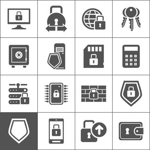 Set of icons protection the lock. A vector illustrationのイラスト素材 [FYI03089013]