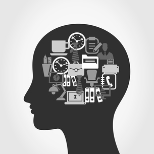 Office in a head. A vector illustrationのイラスト素材 [FYI03089035]