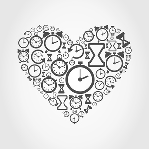 Heart made of hours. A vector illustrationのイラスト素材 [FYI03089075]