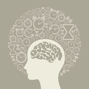 Head made of hours. A vector illustrationのイラスト素材 [FYI03089098]