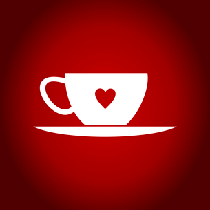 Cup with a heart on a red backgroundのイラスト素材 [FYI03089127]