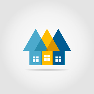 Three arrows in the form of houses with windowsのイラスト素材 [FYI03089141]