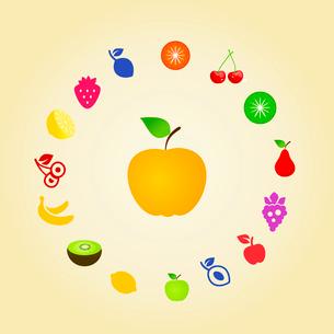 Yellow apple around fruitのイラスト素材 [FYI03089144]