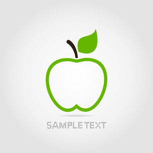 Green apple with green leaf on a grey backgroundのイラスト素材 [FYI03089146]