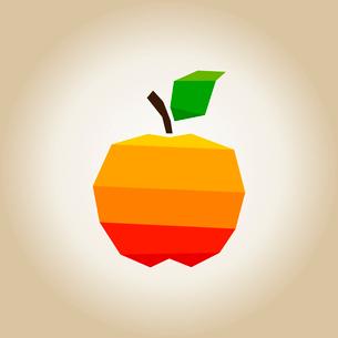 Orange apple with green leafのイラスト素材 [FYI03089150]