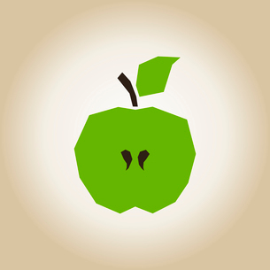 Green apple with green leaf and with a stone in the middleのイラスト素材 [FYI03089155]