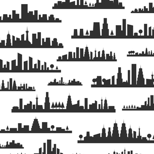 Background made of silhouettes of landscapes of citiesのイラスト素材 [FYI03089167]