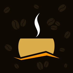 Brown cup of coffee and smoke from hot coffeeのイラスト素材 [FYI03089170]