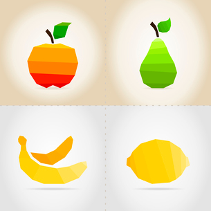 Set of fruit. In a set an apple, a pear, a banana and a lemonのイラスト素材 [FYI03089172]