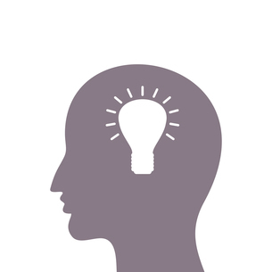 In a head of the man the idea was born the bulb was lightedのイラスト素材 [FYI03089185]