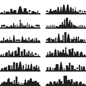 Set of silhouettes of city landscapesのイラスト素材 [FYI03089236]