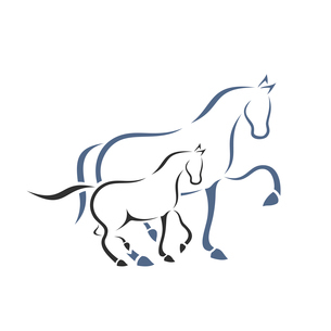 Horse and foal. A vector illustrationのイラスト素材 [FYI03089256]