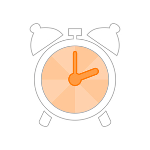 The sketch an alarm clock with an orange arrow. A vector illustrationのイラスト素材 [FYI03089270]