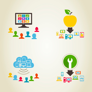 Set of icons a network of people. A vector illustrationのイラスト素材 [FYI03089280]