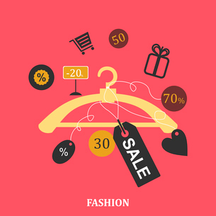 elements of sales on a hanger on a pink backgroundのイラスト素材 [FYI03089281]