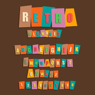 Retro the English alphabet. Vector illustrationのイラスト素材 [FYI03089307]