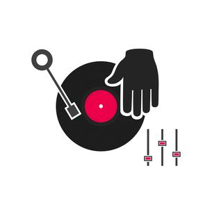 The DJ plays vinyl. A vector illustrationのイラスト素材 [FYI03089323]