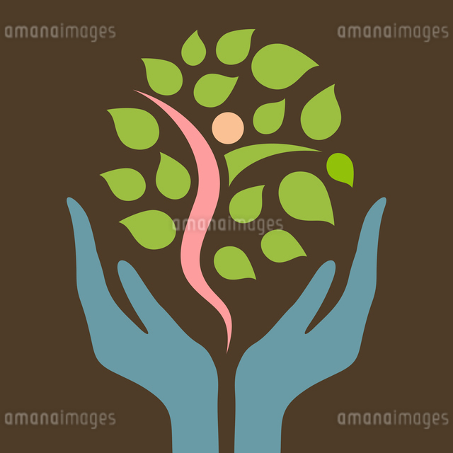 Hands hold a tree. A vector illustrationのイラスト素材 [FYI03089328]