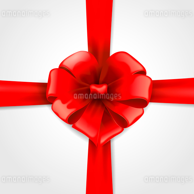 red ribbon with bow with tails isolated on white backgroundのイラスト素材 [FYI03089404]