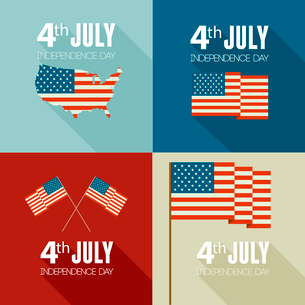 American Independence Day  Patriotic background. Vector Flat designのイラスト素材 [FYI03089854]