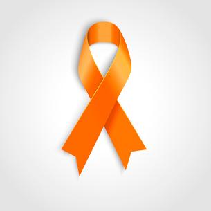 Vector Orange ribbon as symbol of Animal Abuse, leukemia awareness, kidney cancer associationのイラスト素材 [FYI03089871]