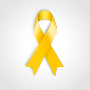 Vector Yellow awareness ribbon on white background. Bone cancer and troops support symbolのイラスト素材 [FYI03089879]