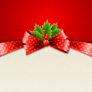 Vector illustration isolated realistic Christmas holly and red bow. EPS 10のイラスト素材 [FYI03089938]