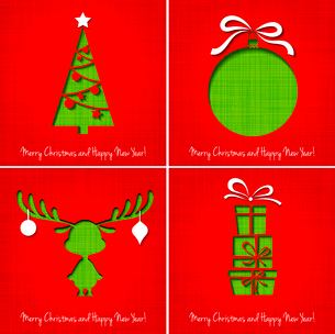 Vector Merry Christmas Paper greeting card EPS 10のイラスト素材 [FYI03089980]