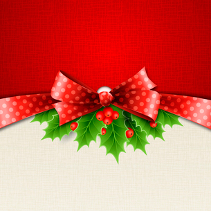 Vector illustration isolated realistic Christmas holly and red bow. EPS 10のイラスト素材 [FYI03089984]