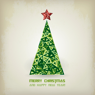 Merry Christmas card with grunge christmas treeのイラスト素材 [FYI03089989]