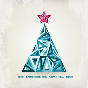 Merry Christmas card with grunge christmas treeのイラスト素材 [FYI03089991]