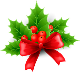Vector illustration isolated realistic Christmas holly and red bow. EPS 10のイラスト素材 [FYI03090001]
