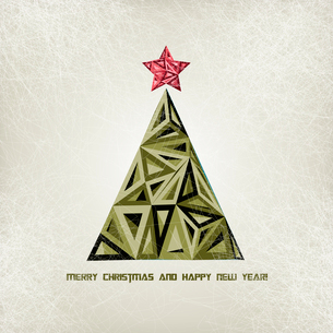 Merry Christmas card with grunge christmas treeのイラスト素材 [FYI03090002]