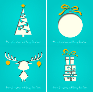 Vector Merry Christmas Paper greeting card EPS 10のイラスト素材 [FYI03090078]