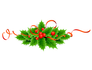 Vector illustration isolated realistic Christmas holly. EPS 10のイラスト素材 [FYI03090086]