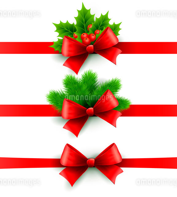Red holiday ribbon with bow Vector illustrationのイラスト素材 [FYI03090125]