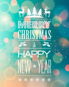 Vector  Abstract Christmas light background with retro typographyのイラスト素材 [FYI03090293]
