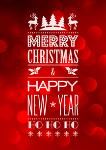Vector  Abstract Christmas light background with retro typographyのイラスト素材 [FYI03090310]