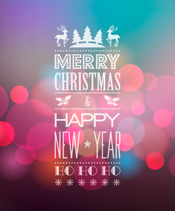 Vector  Abstract Christmas light background with retro typographyのイラスト素材 [FYI03090311]