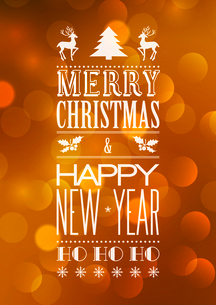 Vector  Abstract Christmas light background with retro typographyのイラスト素材 [FYI03090314]
