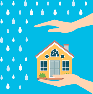 Home safety symbol protected from rain vector illustrationのイラスト素材 [FYI03090327]