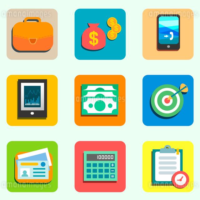 Finance flat icons set for design vector illustrationのイラスト素材 [FYI03090328]