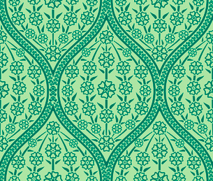 Vector Green Oriental floral seamless pattern wallpaperのイラスト素材 [FYI03090331]