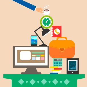 Workplace and business objects for hard work concept vector illustrationのイラスト素材 [FYI03090334]