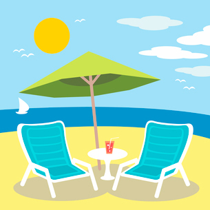 Lounge chairs on the ocean or sea beach vector illustrationのイラスト素材 [FYI03090337]